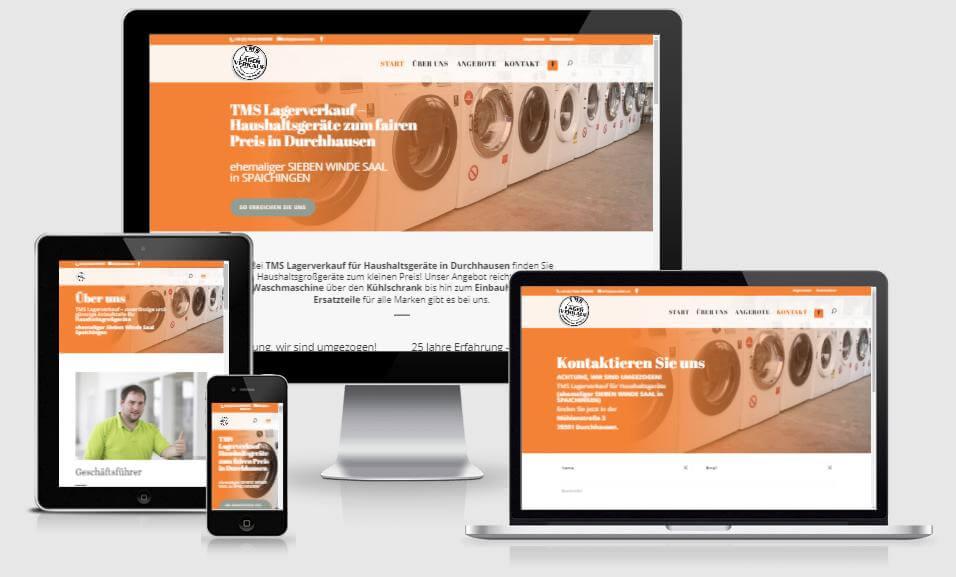 Website für TMS Lagerverkauf für Haushaltsgeräte