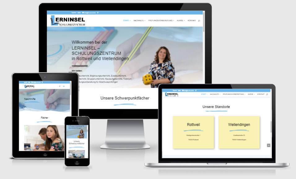 Website für LERNINSEL – SCHULUNGSZENTRUM in Rottweil